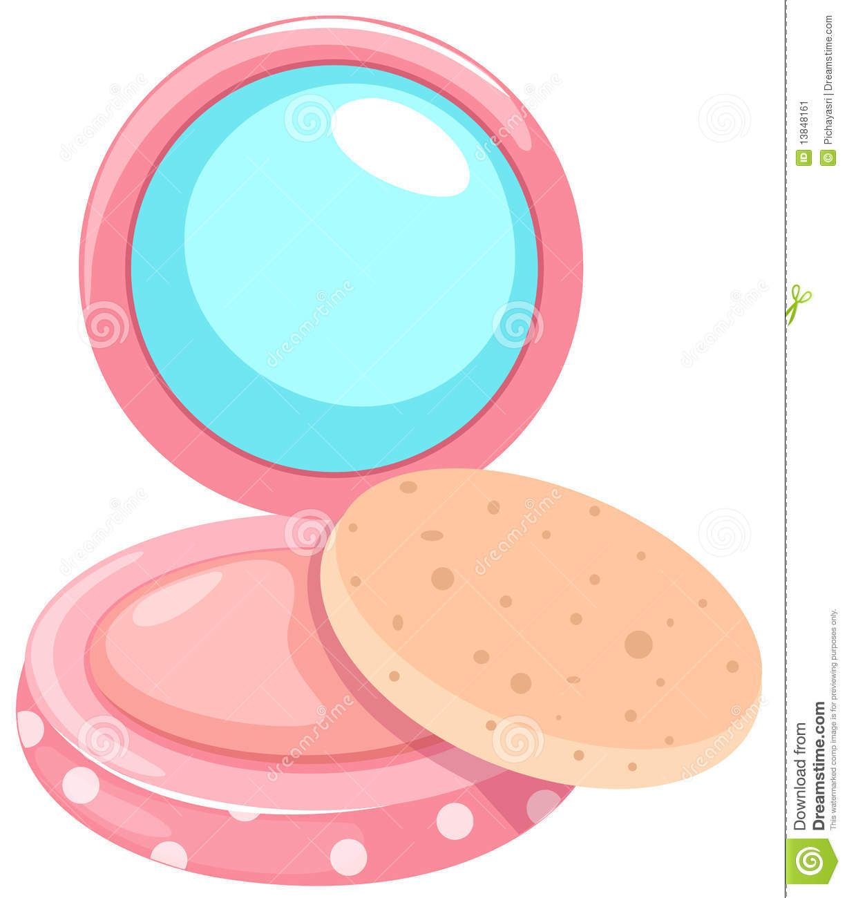 Cosmetic Powder Compact With Puff Stock Image.