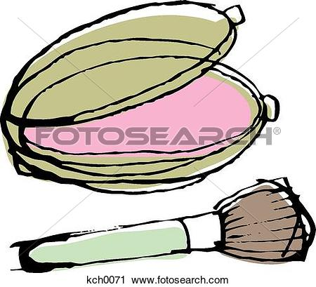Clipart of Blush compact and a brush kch0071.