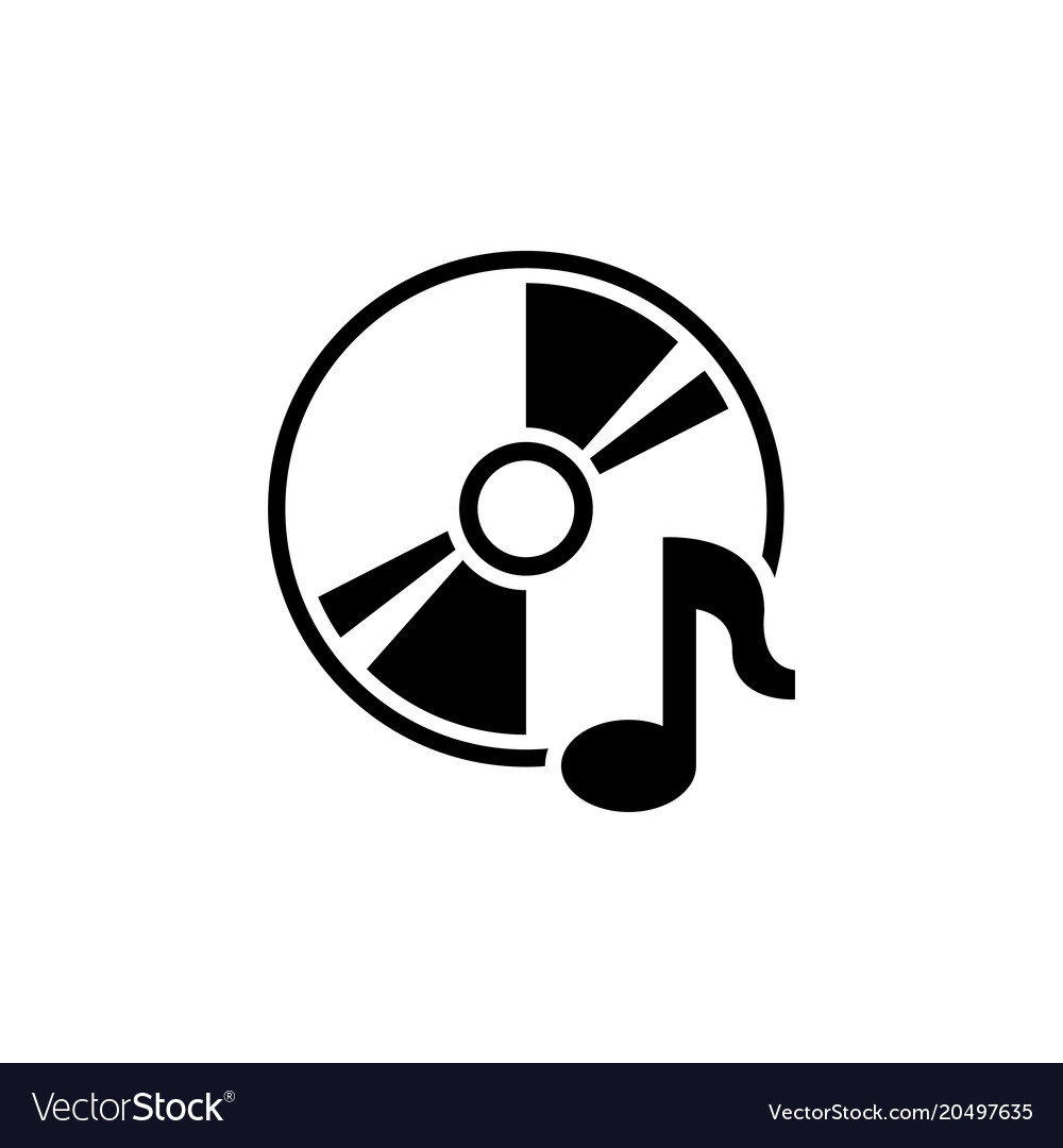 Music compact disk cd or dvd flat icon.