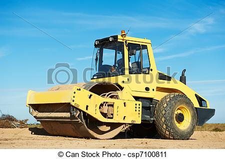 Stock Photography of Compactor at road compaction works.
