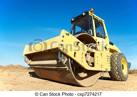 Picture of Compactor at road compaction works.