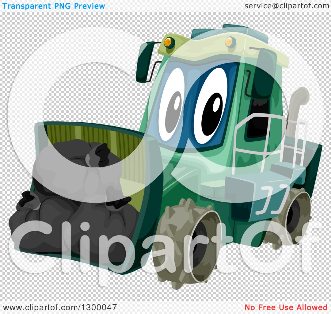 Clipart of a Cartoon Garbage Compactor Tractor with a Load.