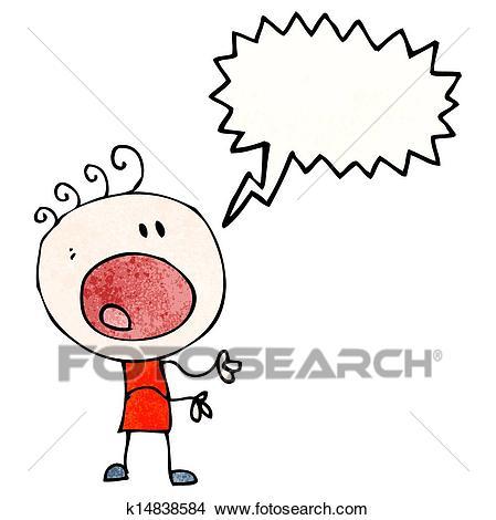 Cartoon complaining boy Clipart.