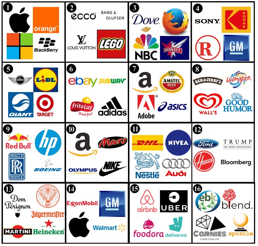 Odd one out: Companies & Logos Quiz.