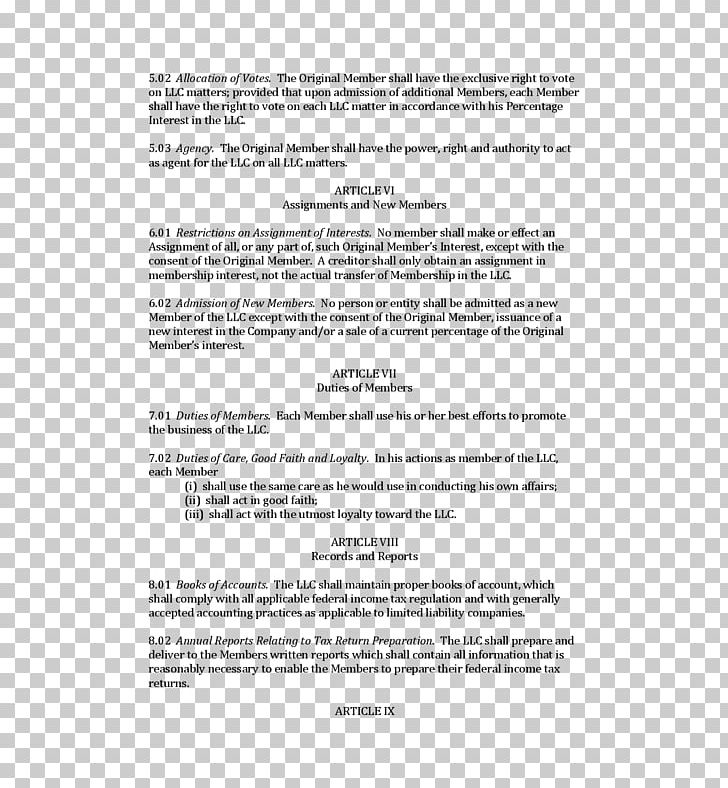 Operating Agreement Limited Liability Company Contract.