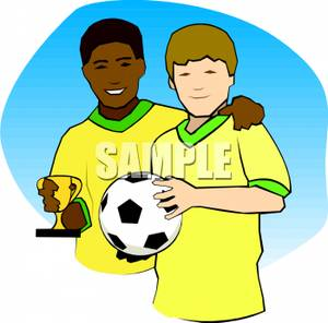 Soccer Teammates Holding the Ball and a Trophy Clipart Image.