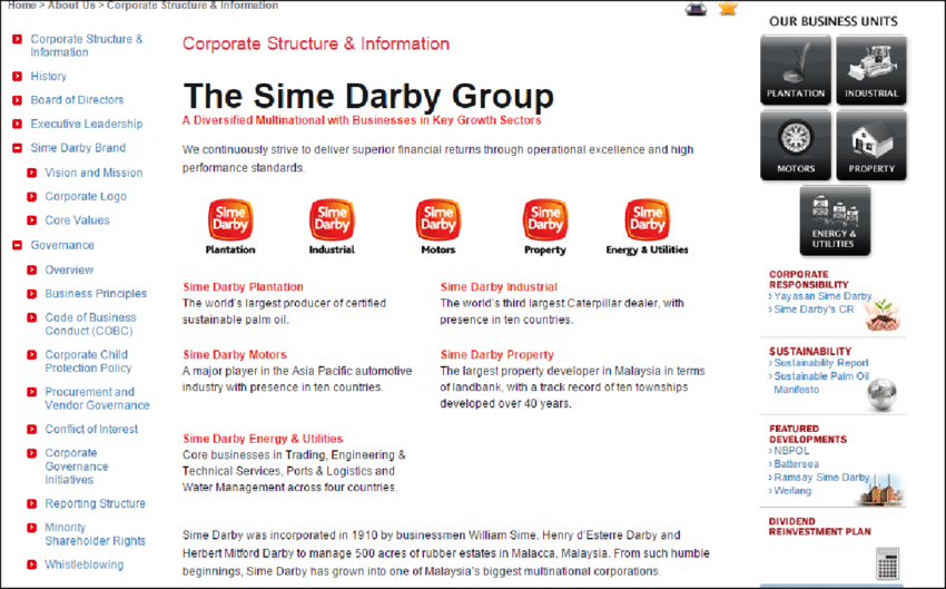 Main Page of Sime Darby Website (extract).
