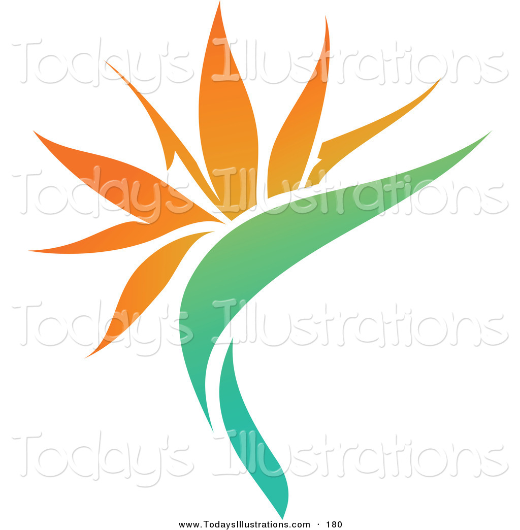 Clipart of an Exotic Orange Flower Logo Icon on a White Background.