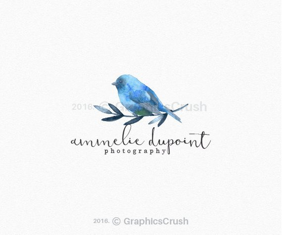 Watercolor Bird Logo Design Blue Watercolor Bird Logo Blue.