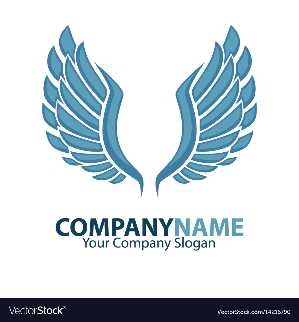 Company name emblem with blue bird wings isolated.