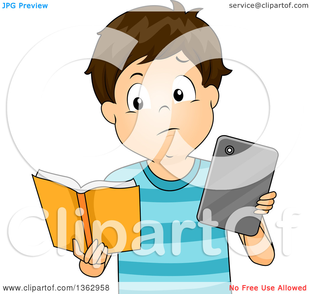 Clipart of a Brunette White Boy Comparing a Tablet or E Reader to.