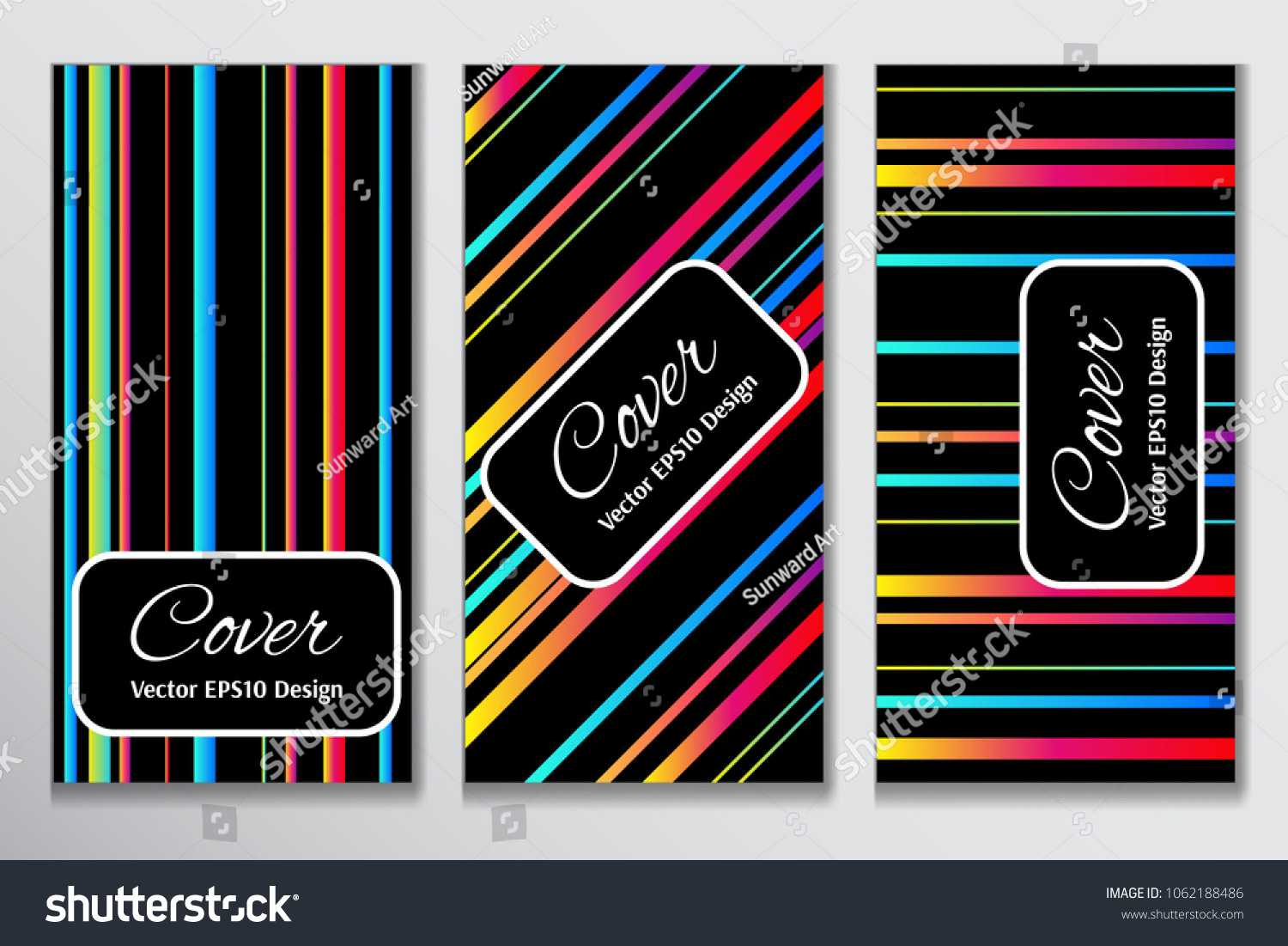 Trendy Cover Gradient Stripe Clipart Contrast Stock Vector (Royalty.
