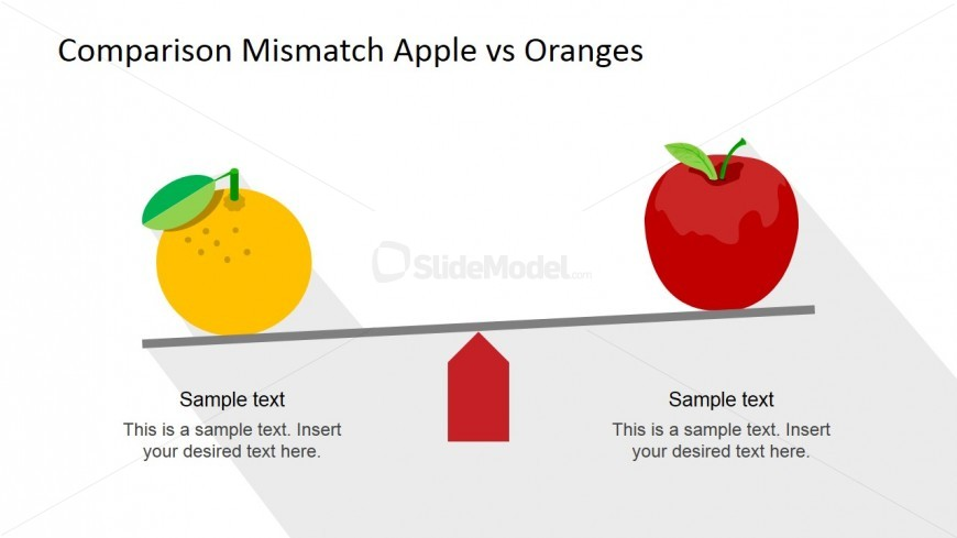Flat Orange and Apple Comparison Scene for PowerPoint.