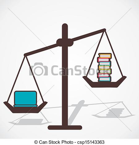 Clip Art Vector of comparison book and laptop.