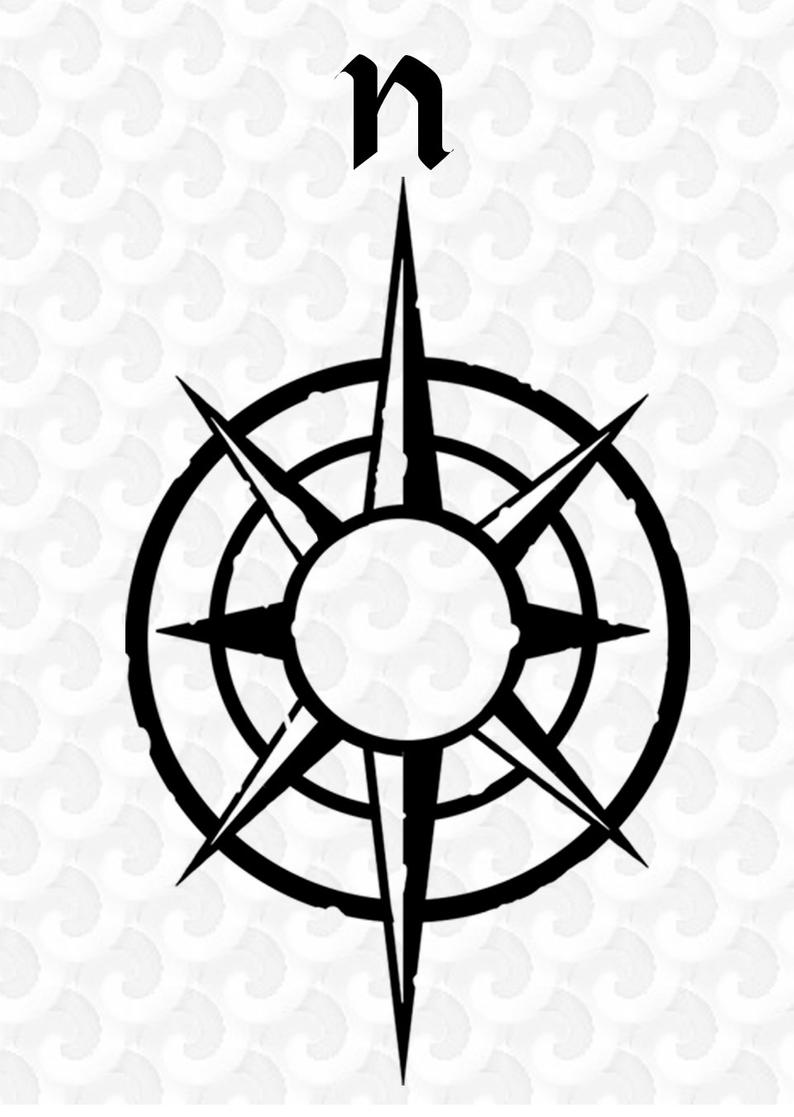 Clip Art; Map Compass Clip Art; Silhouette; PNG; Graphics; Instant  Download; Rustic Designs; Old Looking Map Compass; Nautical.