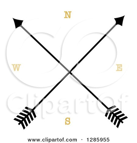 Clipart of a Crossed Arrow Compass.
