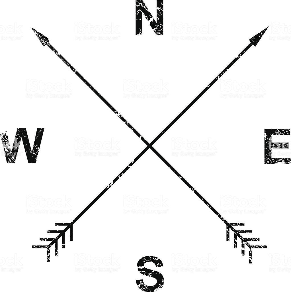 Compass Arrows Grunge Design Stock Illustration.