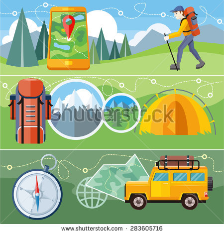Man Traveler Backpack Hiking Equipment Walking Stock Vector.