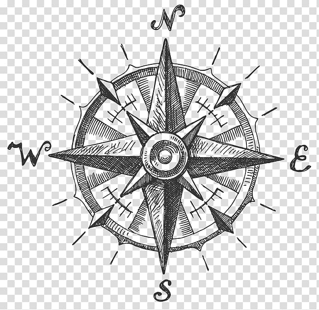 Compass logo, North Compass rose, ink in water transparent.