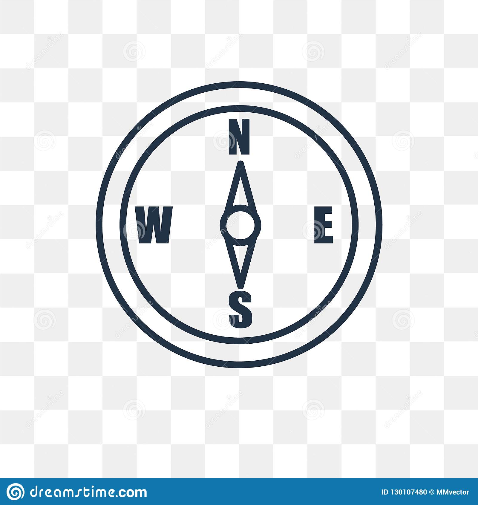 Compass Vector Icon Isolated On Transparent Background, Linear C.