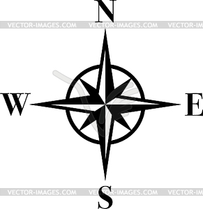 Compass in black, compass, logo.
