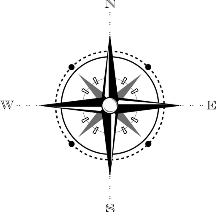 North Compass Map PNG, Clipart, Angle, Area, Black And White.