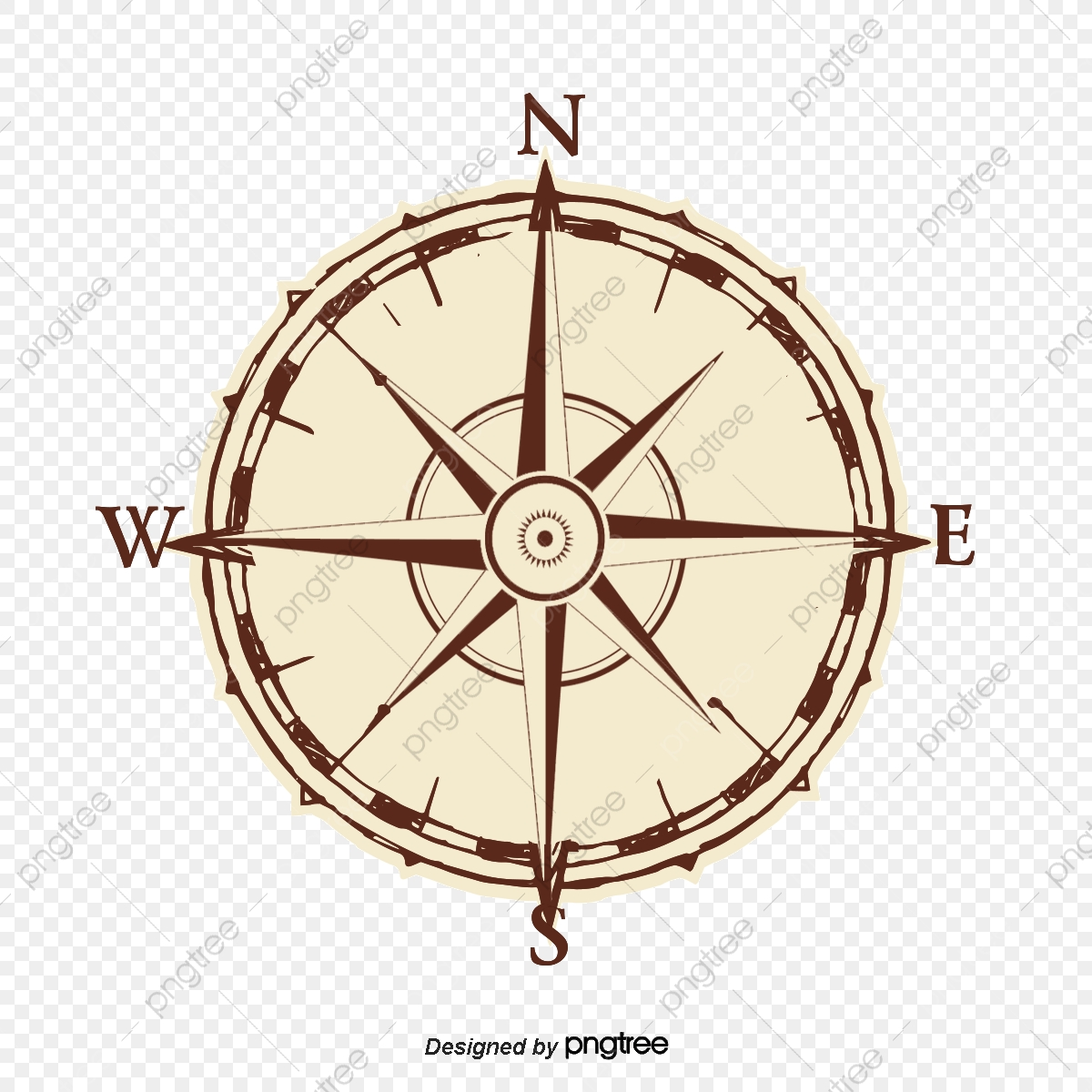 Vector Hand Painted Compass, Vector, Hand Painted, Compass PNG.