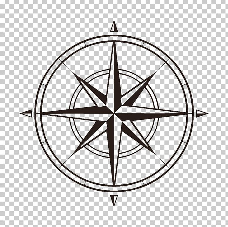 North Compass Rose Map PNG, Clipart, Angle, Black And White, Circle.