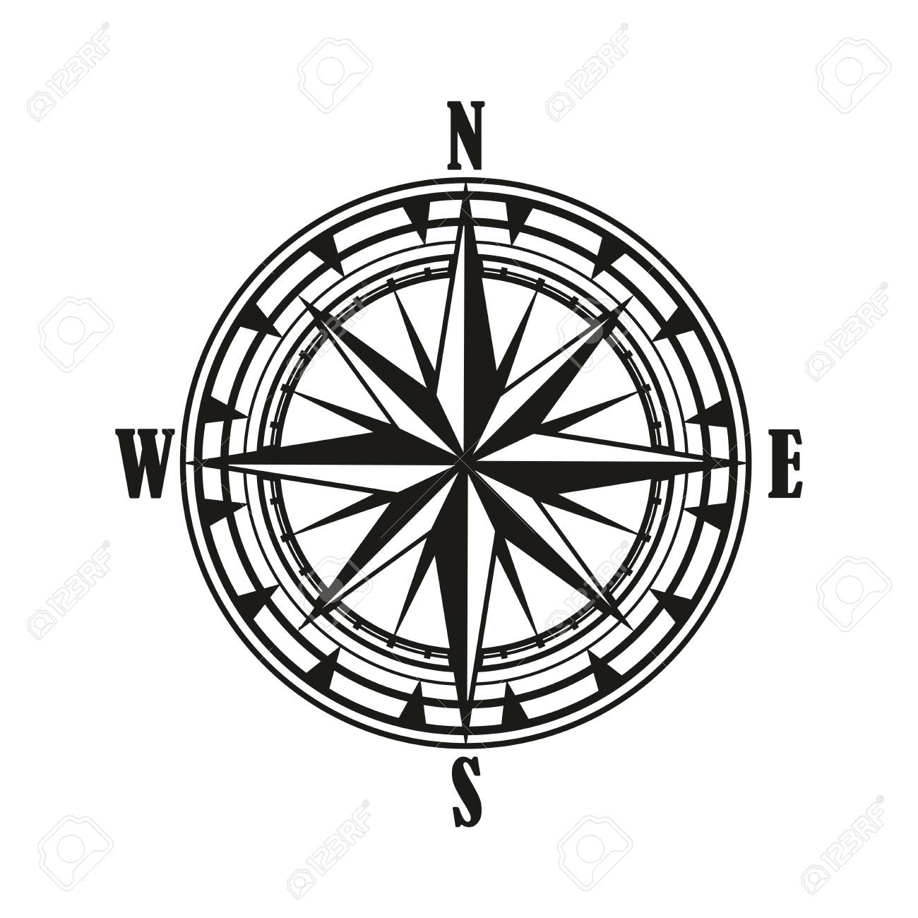 Vintage compass rose isolated icon, travel and nautical navigation...