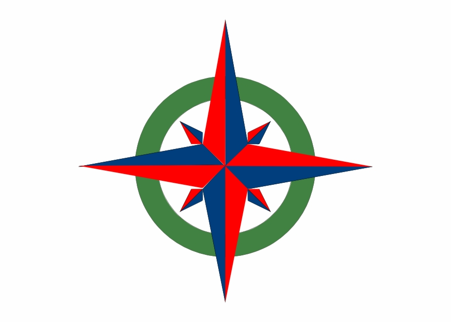 Compass Rose Red Blue Green Clip Art.