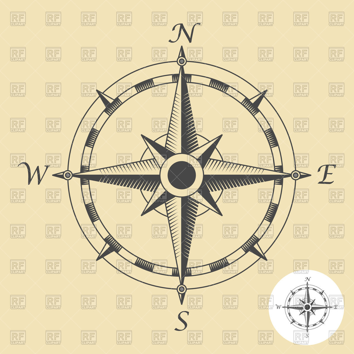 1779 Compass free clipart.
