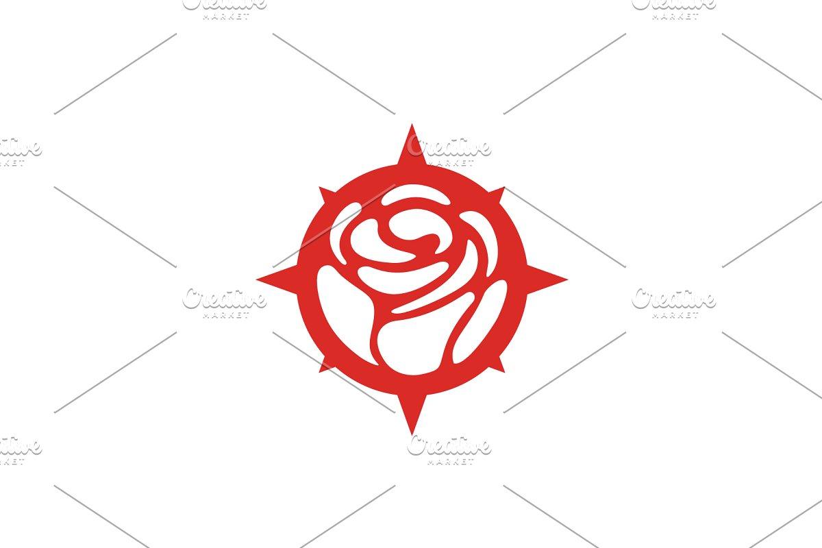Compass Rose Flower logo design.