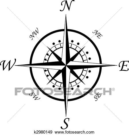 Compass symbol Clip Art.