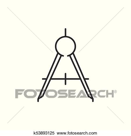 Compass tool outline icon Clipart.