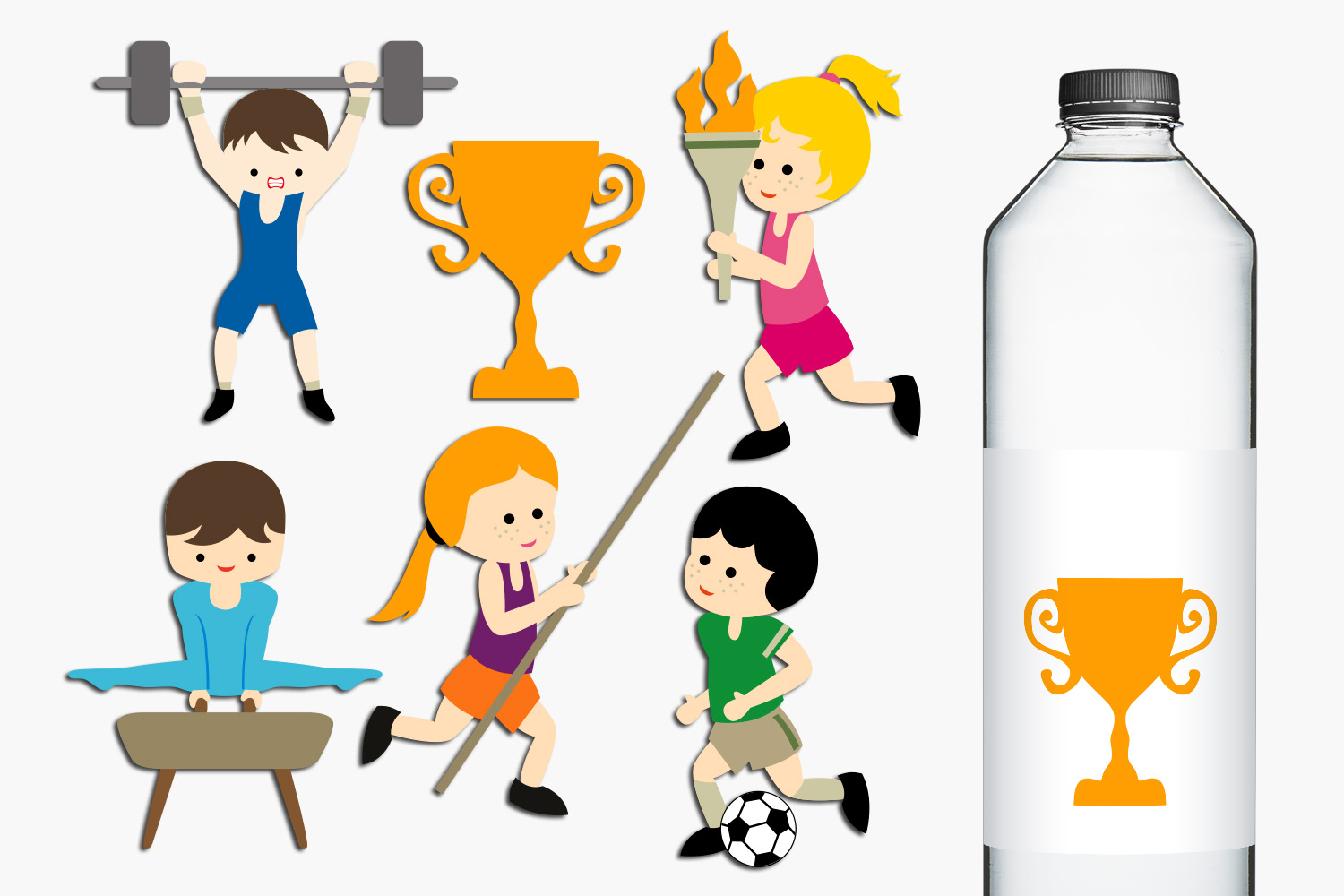 Summer Sport Competition Clip Art Illustrations.