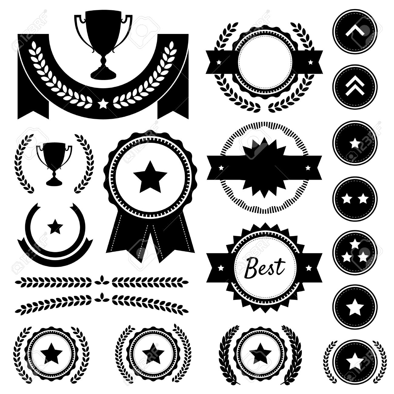 Set Of Achievement Award Silhouettes Includes Various Badges.