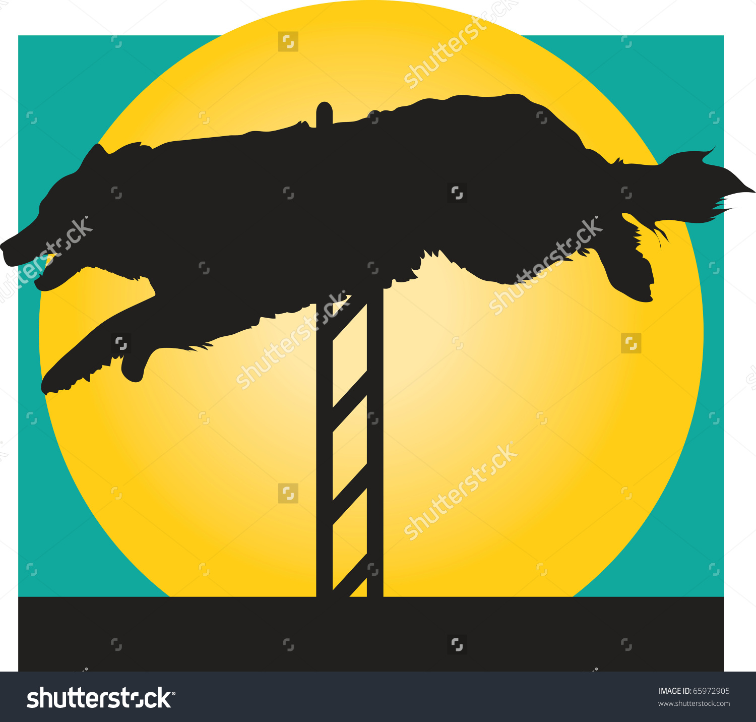 Silhouette Of A Border Collie Jumping A Hurdle In An Agility.