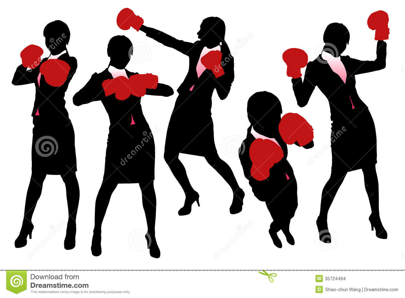 Silhouettes Of Business Woman Boxing Stock Images.