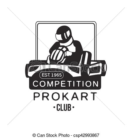 Clip Art Vector of Karting Club Prokart Competition Black And.