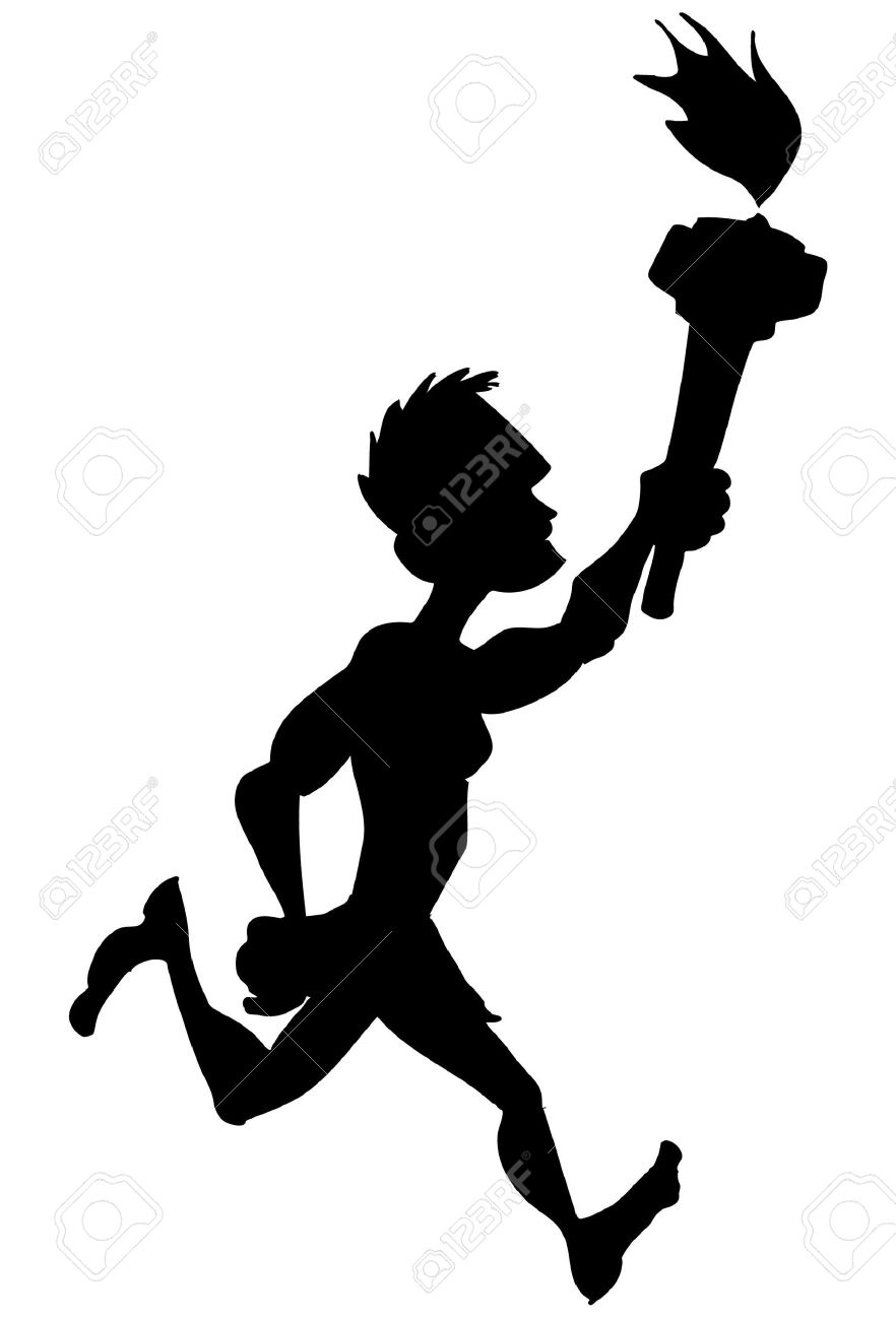 Silhouette Sports Competition Athlete Running With Sports.