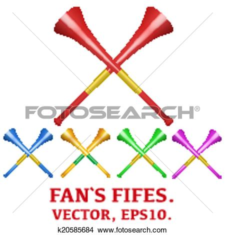 Clipart of Set of fans' pipes to support athletes at competitions.