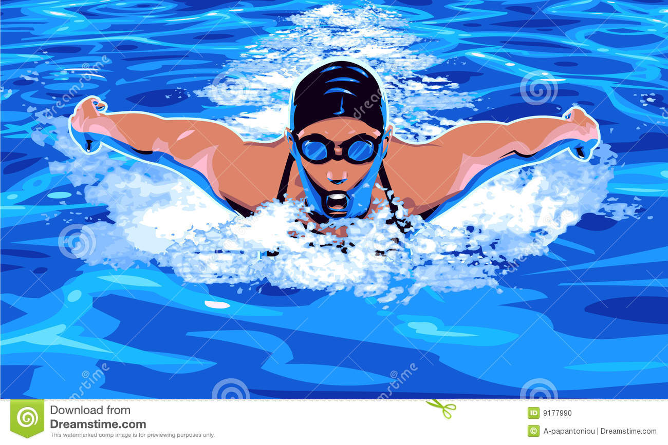 Swimming stock vector. Illustration of drawing, speed.
