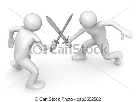 Clip Art of Competitors crossing swords.