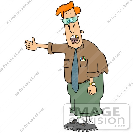 Clip Art Graphic of a Nerdy Caucasian Man With a Gold Tooth.