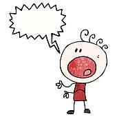 Clipart of cartoon complaining doodle boy k15546035.