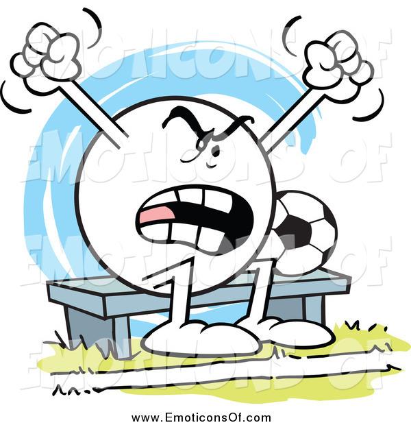 Clip Art Vector Cartoon of a Moodie Emoticon Soccer Bench Warmer.