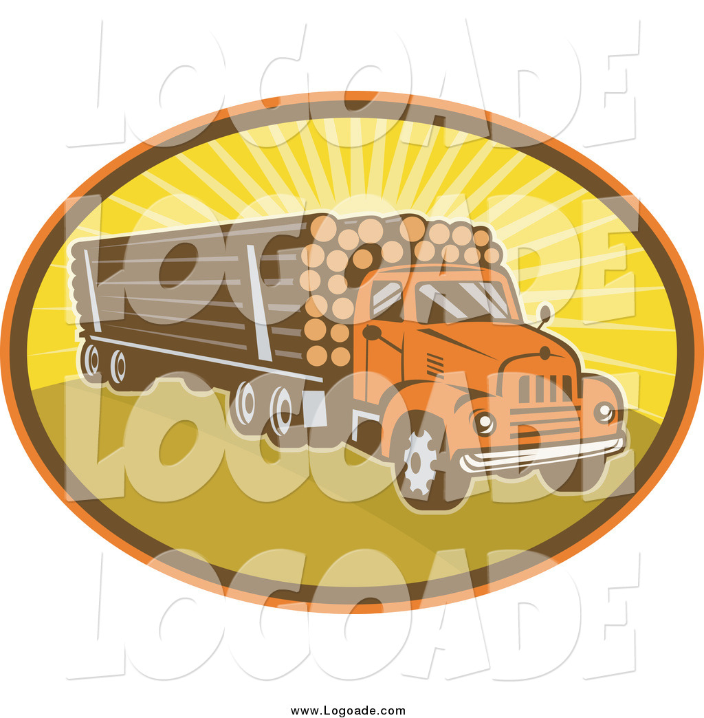 Clipart of a Logging Truck and Sunshine Logo by patrimonio.