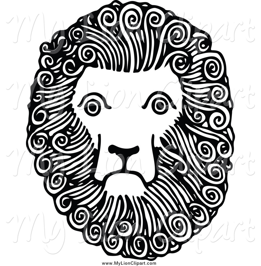 Clipart of a Black and White Lion Face by Prawny Vintage.