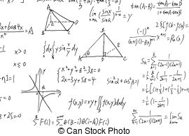 Stock Image of Complex math formulas on whiteboard.
