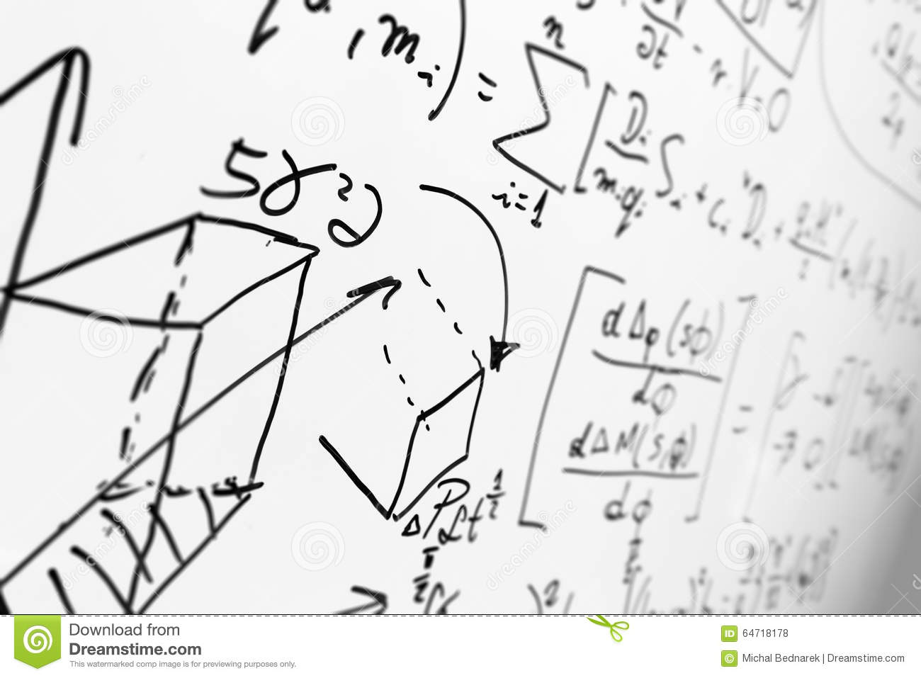 Complex Math Formulas On Whiteboard. Mathematics And Science With.